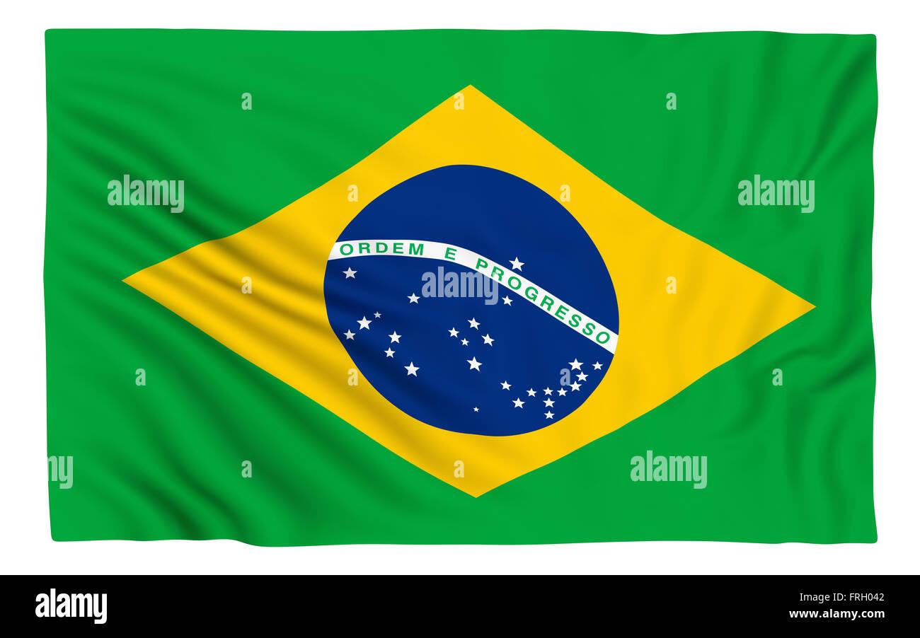 Flag of Brazil , isolated on white. - Stock Image