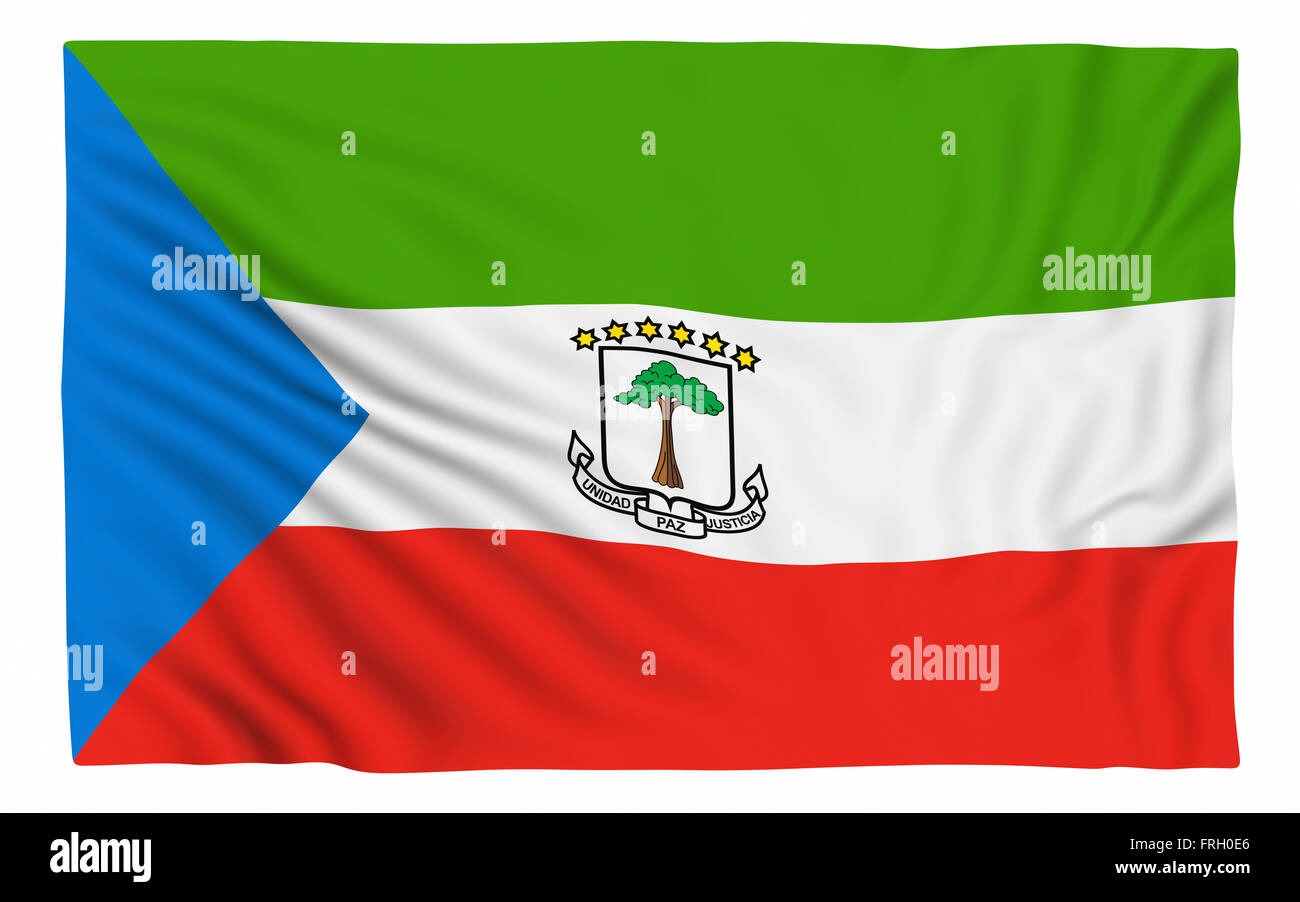 Flag of Equatorial Guinea , isolated on white. - Stock Image