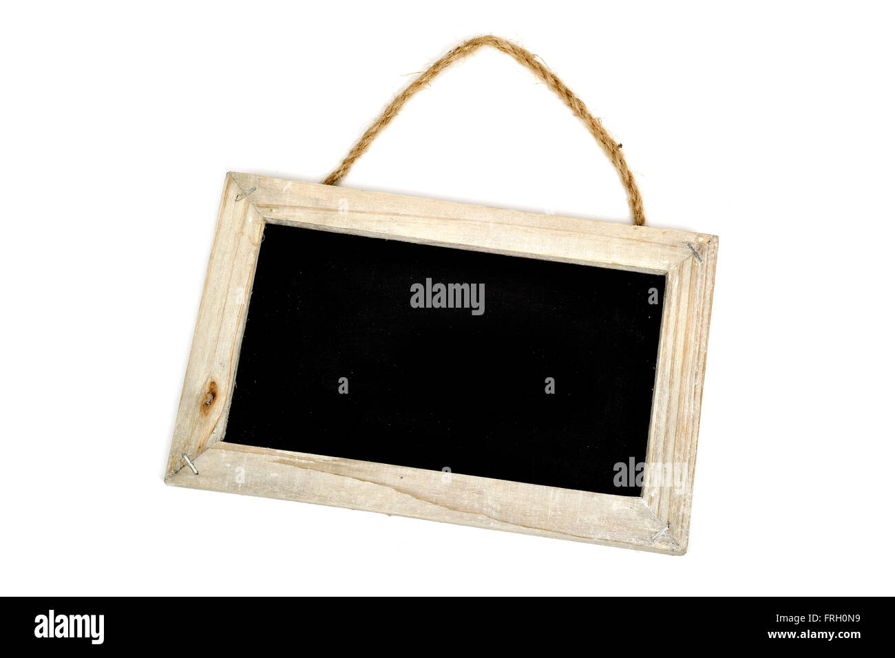 a blank blackboard with a rustic wooden frame and a rustic rope on a ...