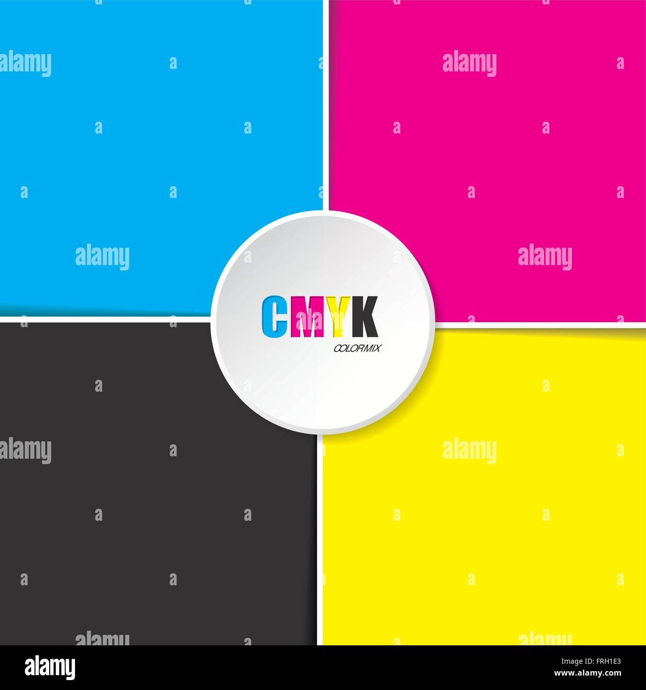 Abstract cmyk background with white stripes and 3d button in middle - Stock Image
