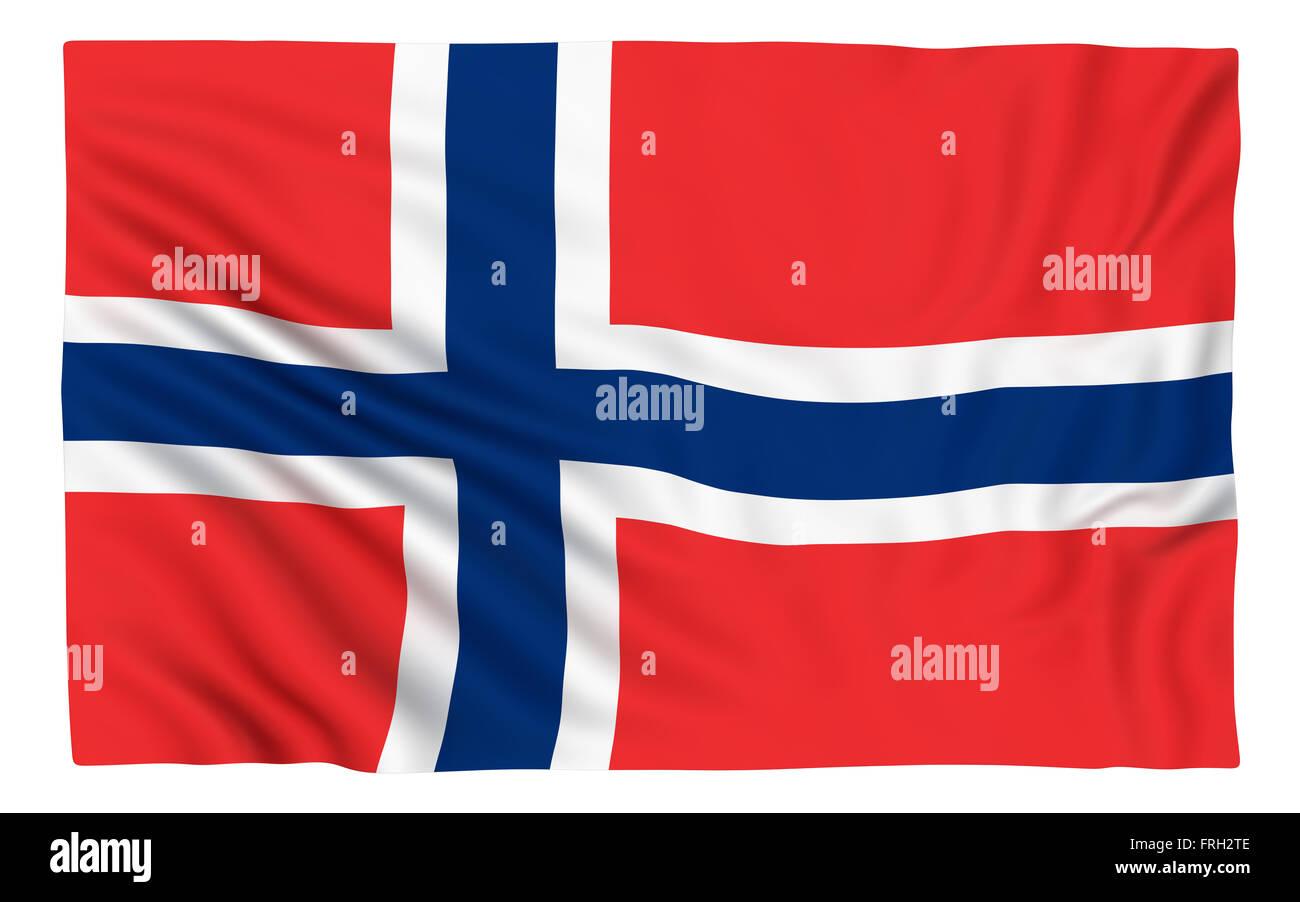 Flag of Norway , isolated on white. - Stock Image