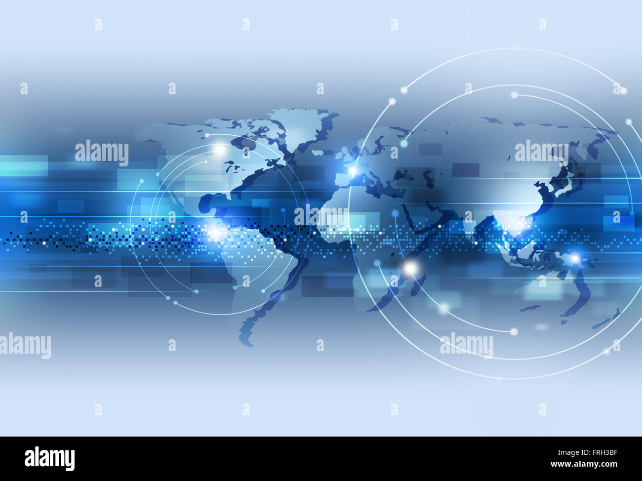 digital world of technology communications and connection blue background - Stock Image