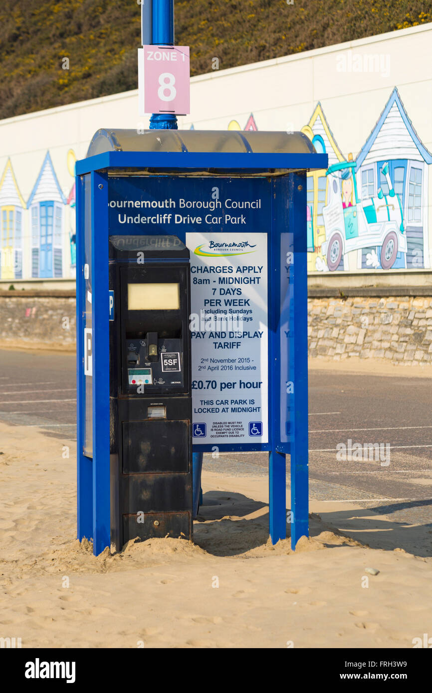 Undercliff Drive car park pay machine on promenade between Bournemouth and Boscombe piers in March - Stock Image