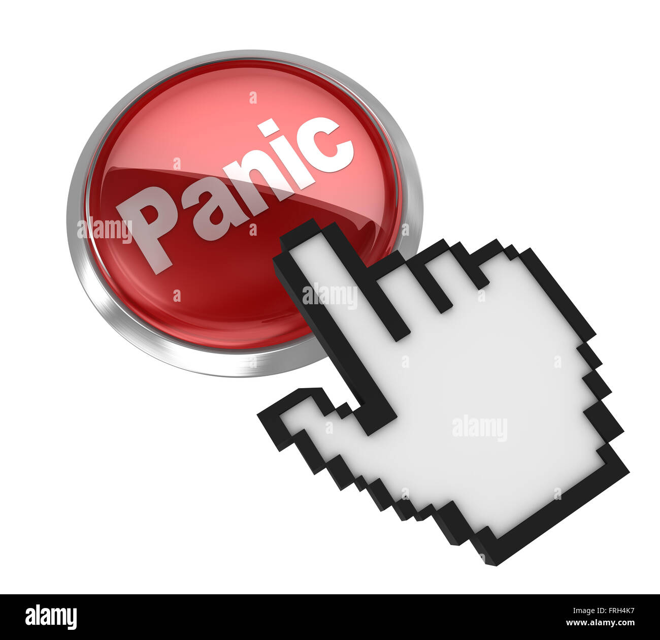 Panic button , This is a computer generated and 3d rendered picture. - Stock Image