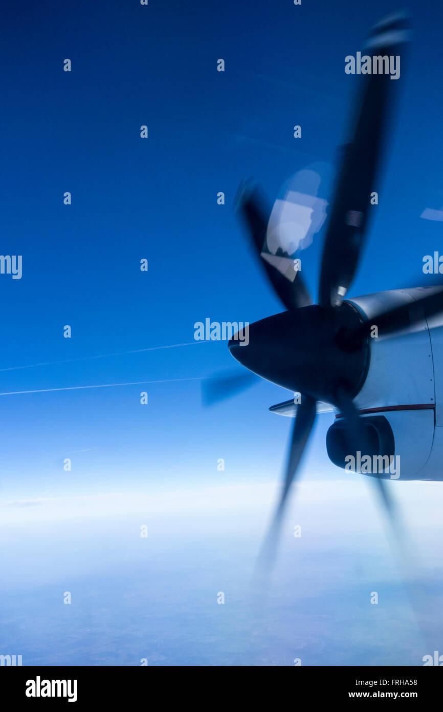 Turboprop engine in flight - Stock Image