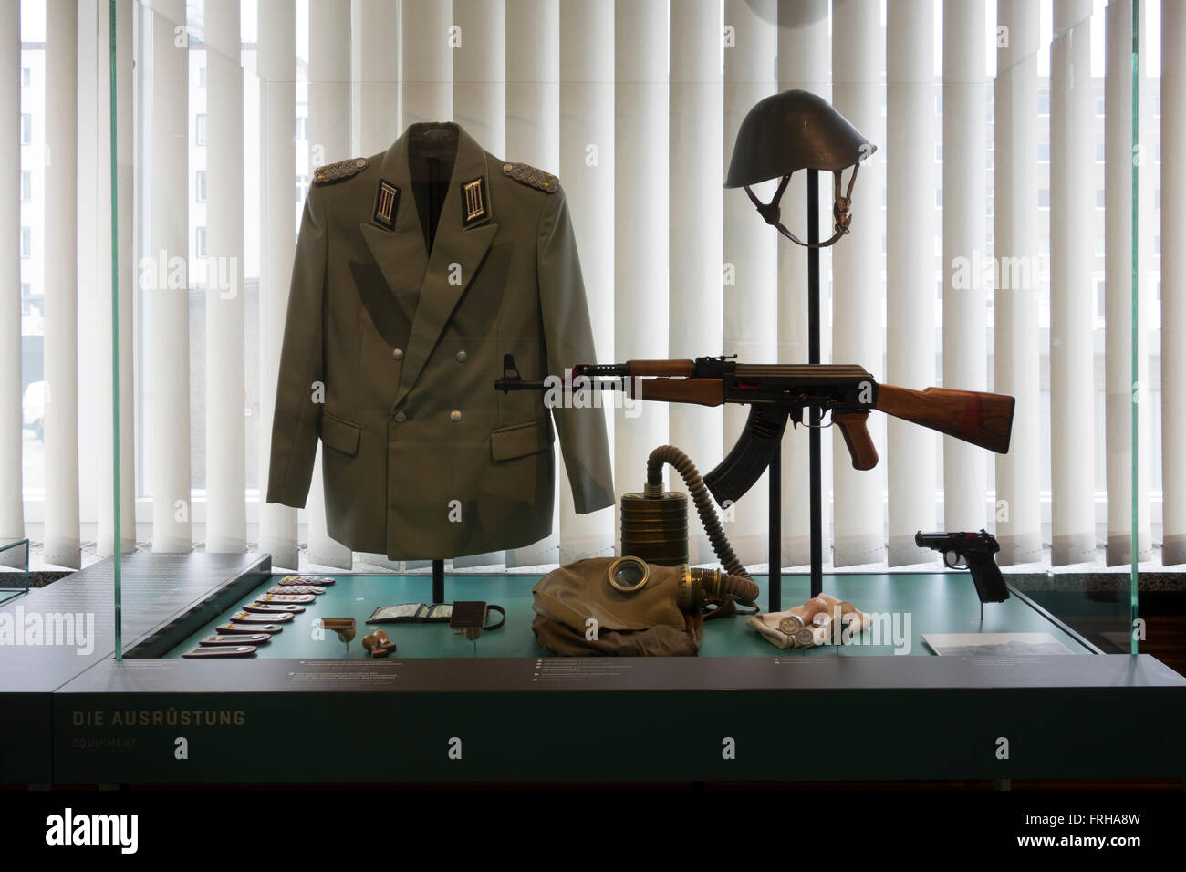 Weapons and uniforms at Stasi Museum, Berlin - Stock Image