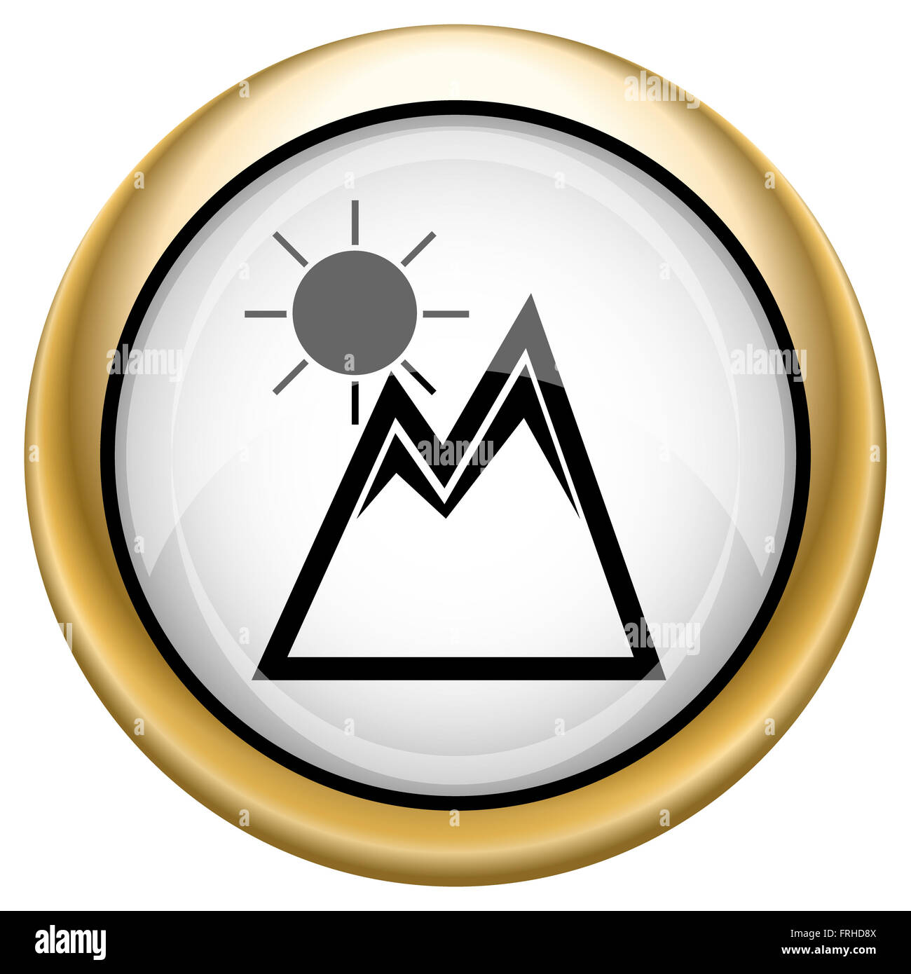 Shiny glossy icon with black design on white and gold background - Stock Image