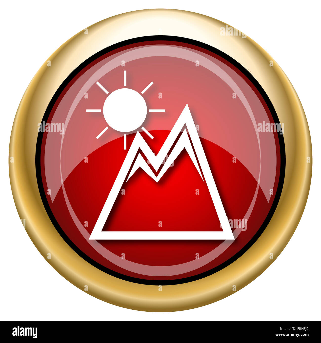 Shiny glossy icon with white design on red and gold background - Stock Image