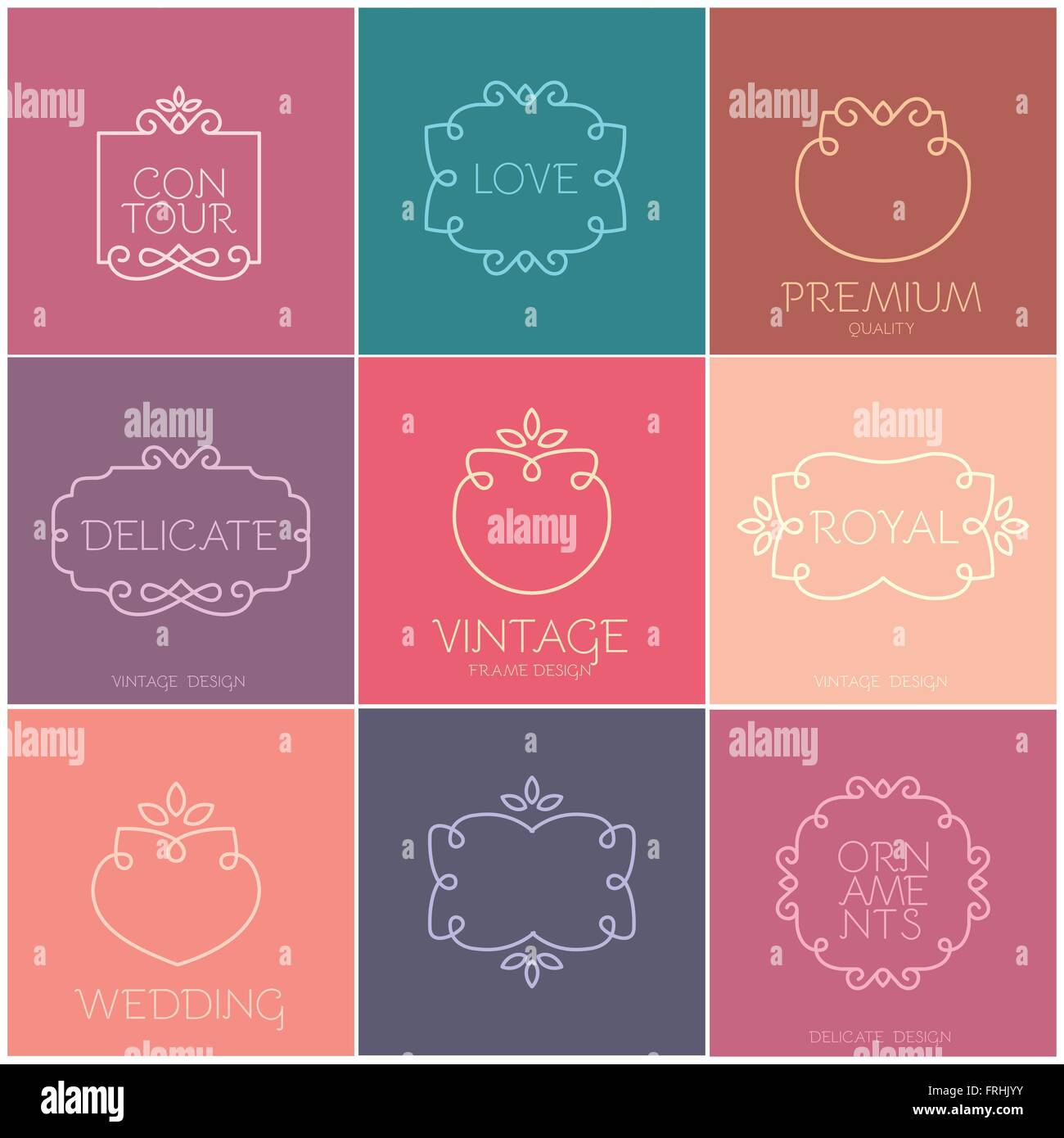 Simple and graceful frame design template, Elegant line logo design ...