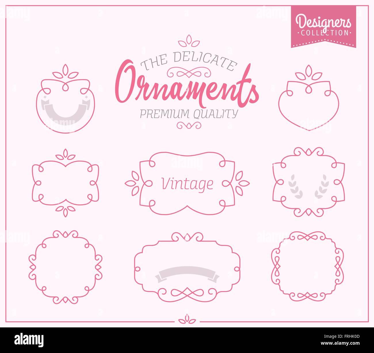 Simple And Graceful Frame Design Template Elegant Line Logo Vector Illustration Vintage Premium Styled Ribbons Frames