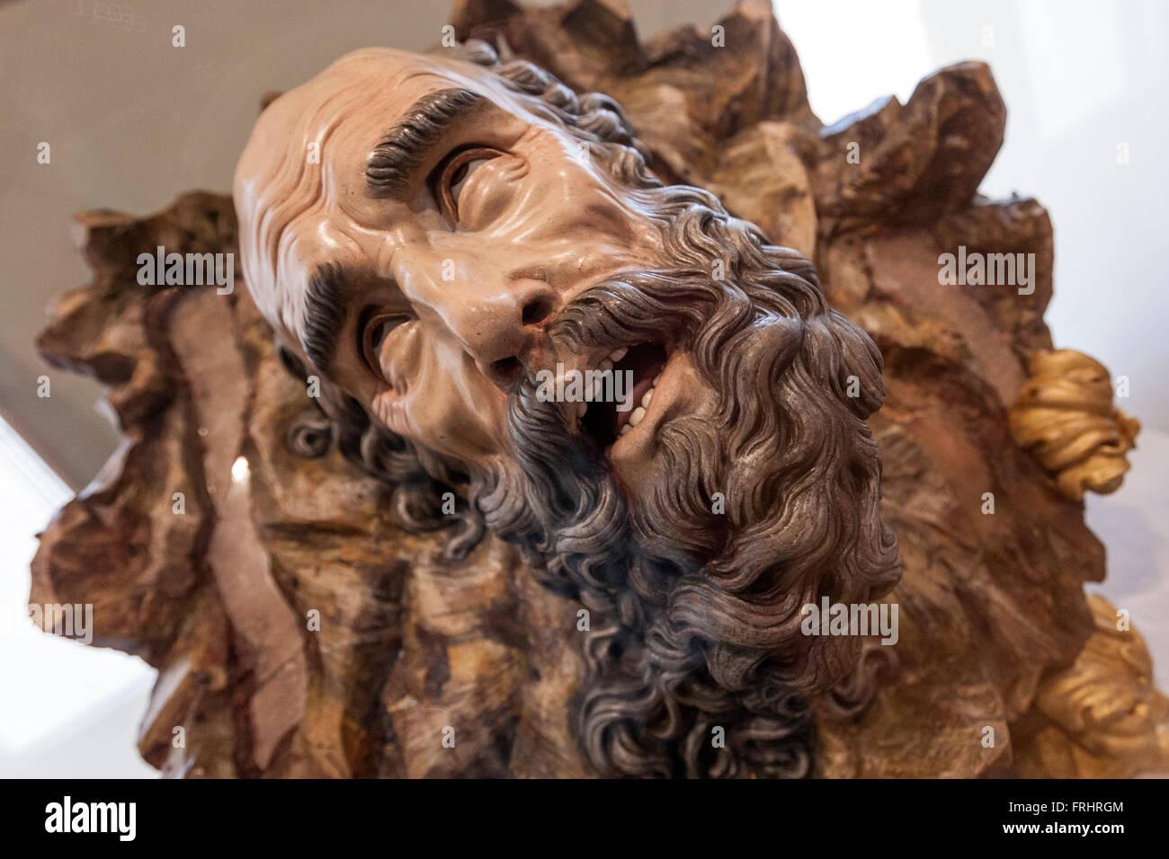 Wood sculpture of Saint Paul head in National Sculpture Museum, Museo Nacional de San Gregorio, Valladolid, Spain - Stock Image