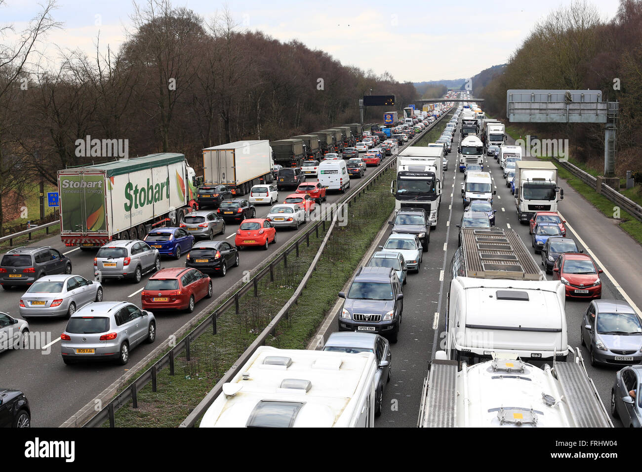 Picture shows M6 motorway misery in Staffordshire traffic jams across 6 lanes of motorway - Stock Image