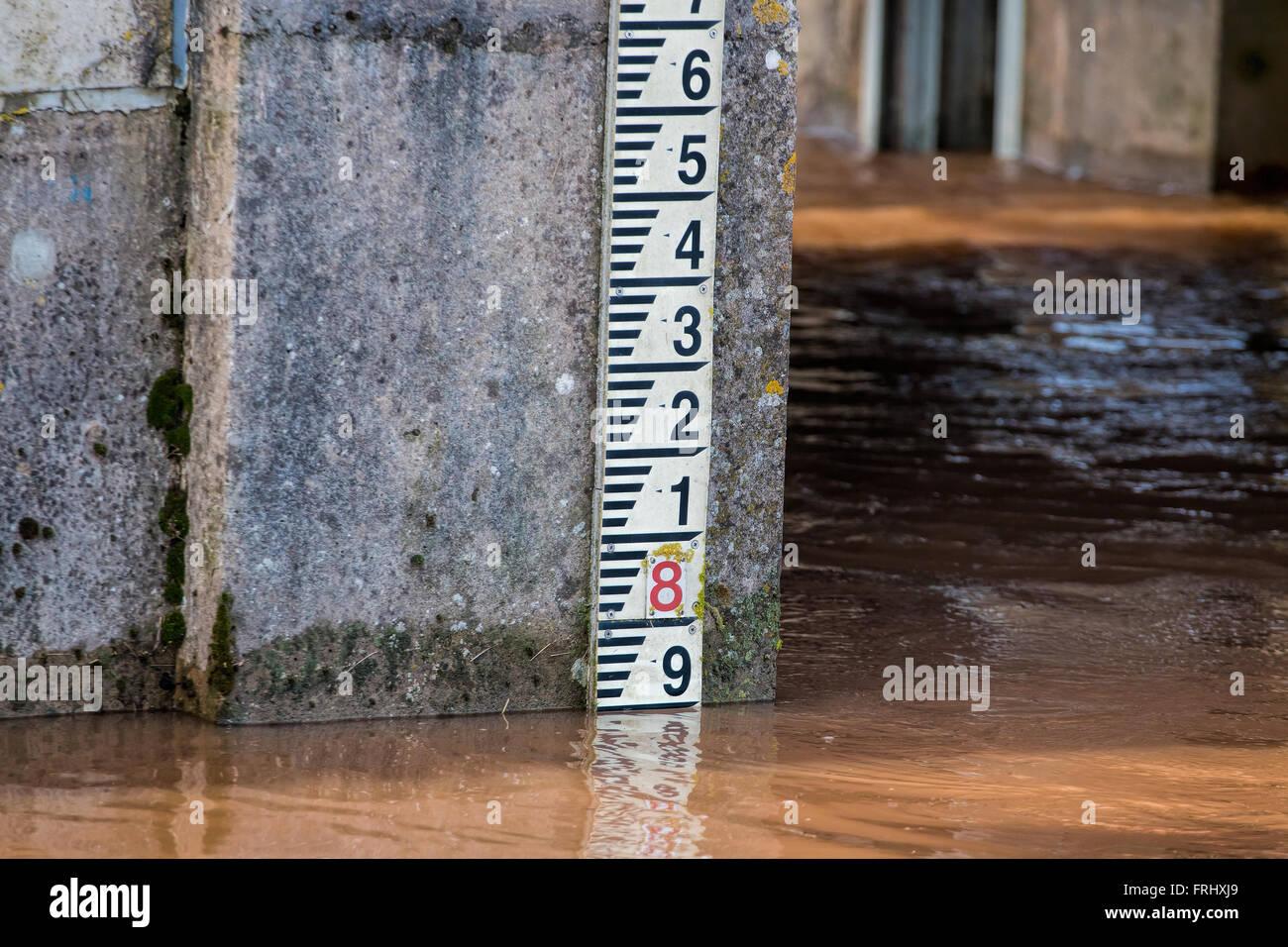River Level Marker Gauge For Measurement. High River Levels Stock Photo