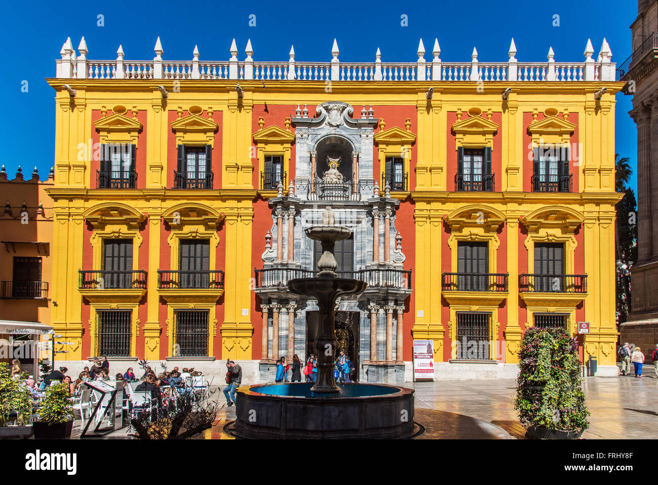 Palacio Episcopal or Episcopal Palace, Plaza del Obispo, Malaga, Andalusia, Spain - Stock Image