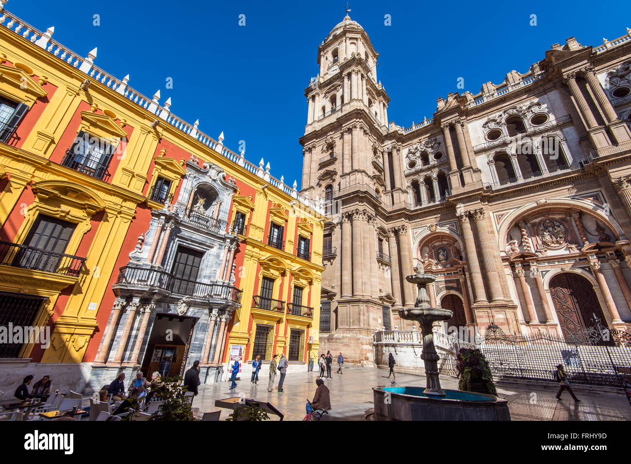 Palacio Episcopal or Episcopal Palace and Cathedral, Plaza del Obispo, Malaga, Andalusia, Spain - Stock Image