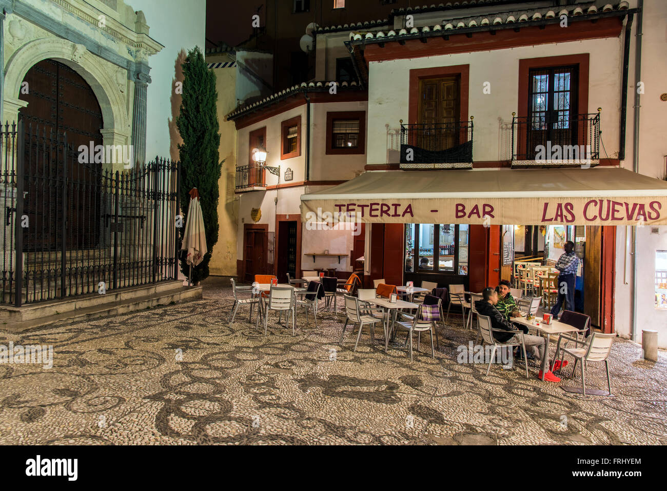 Nightlife atmosphere in the Albayzin quarter, Granada, Andalusia, Spain Stock Photo