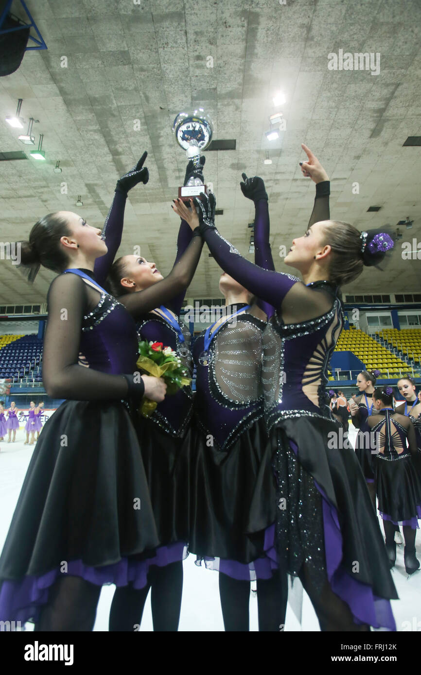 ZAGREB,CROATIA - MARCH 12: Team Canada 1 have won golden medals for the first place on the ISU Synchronized Skating - Stock Image