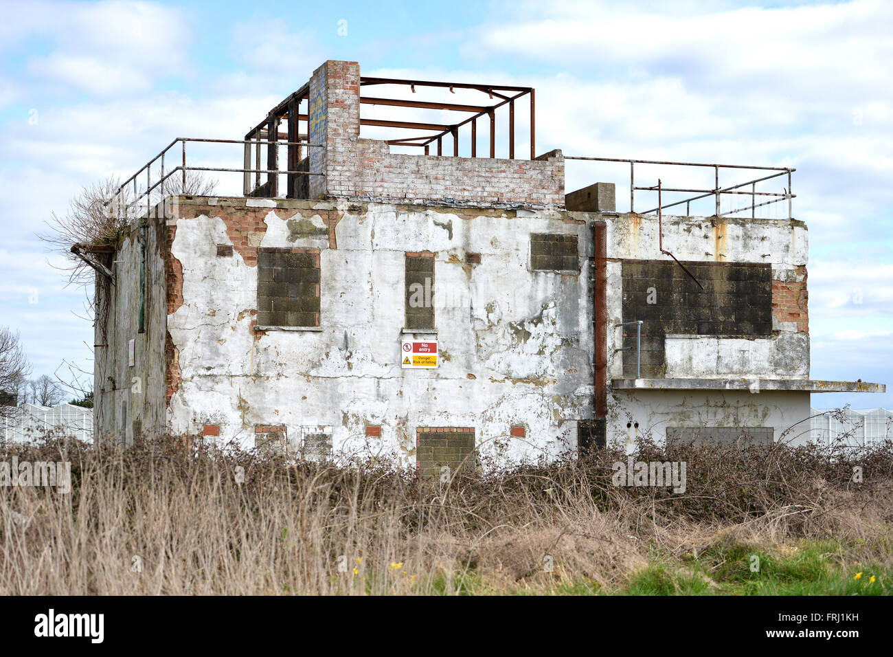 RAF Tangmere disused WWII control tower number 9, Chichester, UK - Stock Image