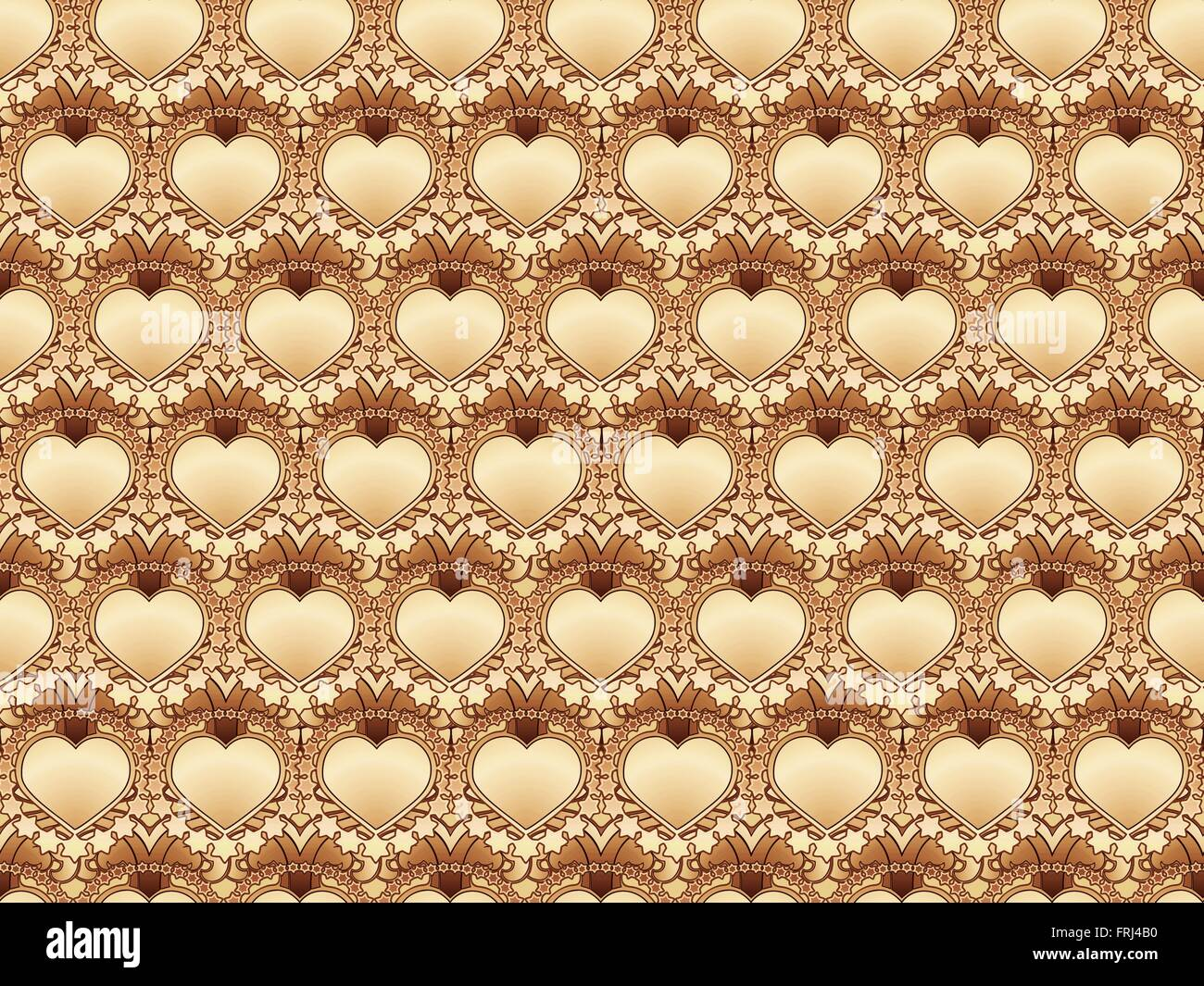 psychedelic retro pattern of hearts and stars - Stock Image