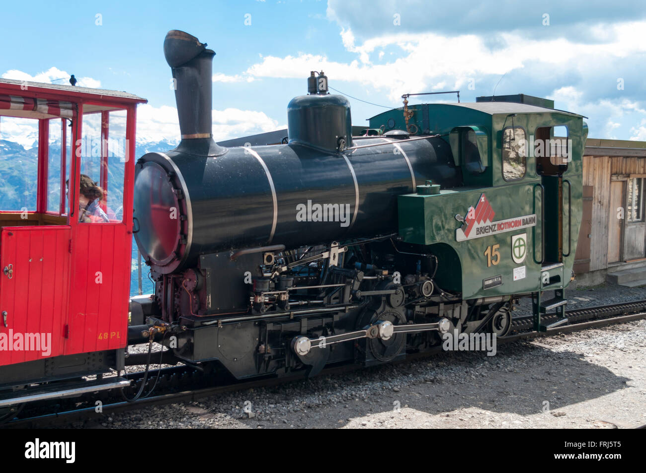 Modern SLM steam engine of the BRB Brienz Rothorn Bahn rack railway, built by SLM in 1996. Brienzer Rothorn, Switzerland. - Stock Image