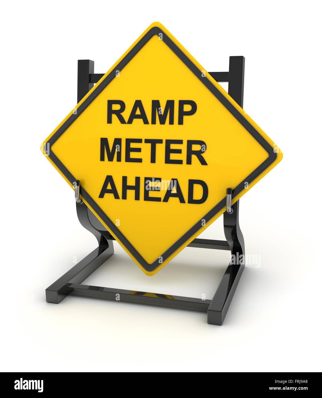 Road sign - ramp meter ahead , This is a computer generated and 3d rendered picture. - Stock Image