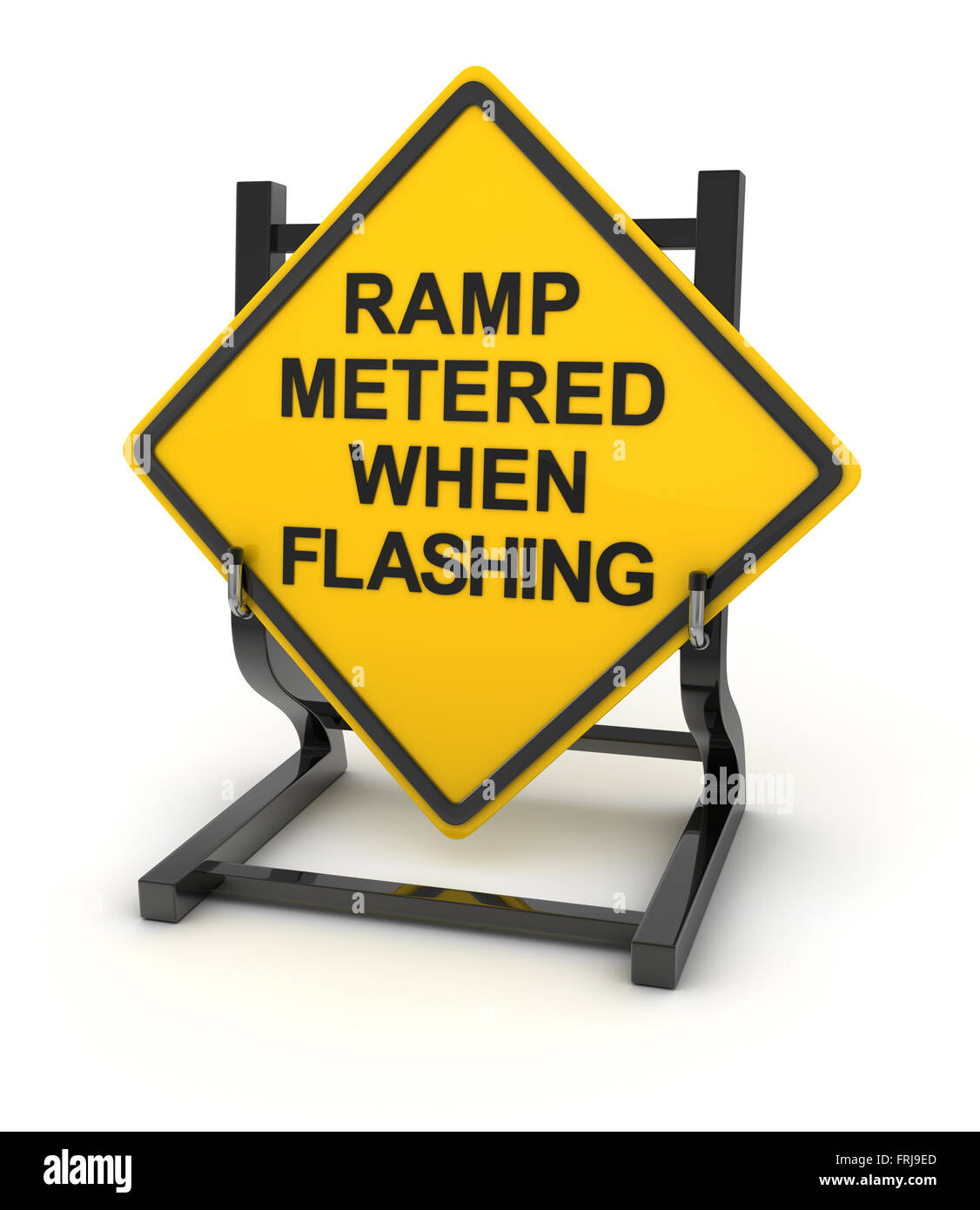 Road sign - ramp metered when flashing , This is a computer generated and 3d rendered picture. - Stock Image
