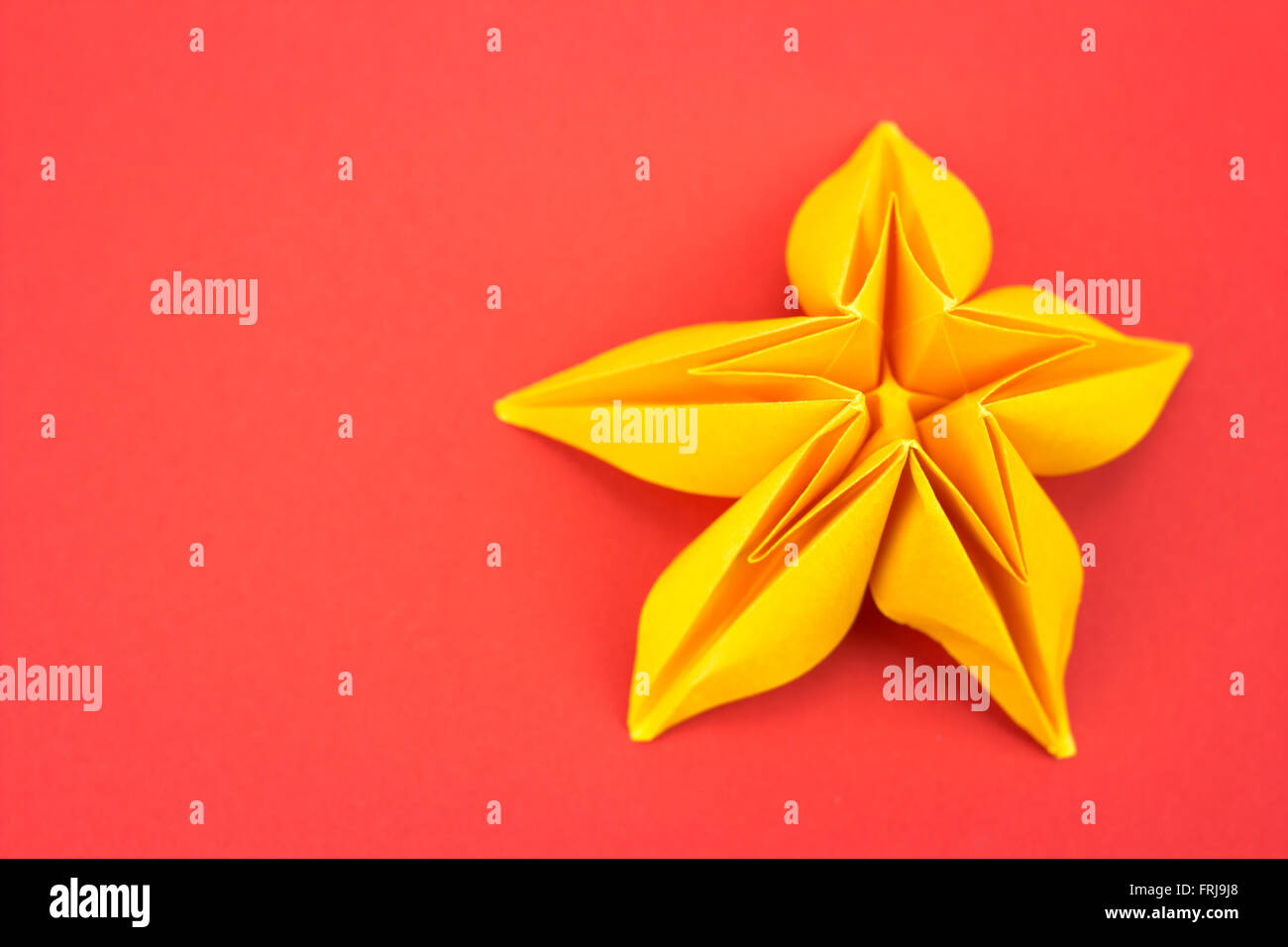 Paper Flower Background Stock Photos Origami Nut Spring Yellow On Red Image