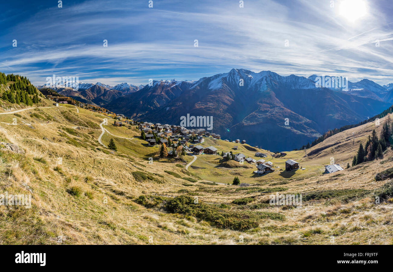 Panoramic view of the village of Riederalp and surrounding mountains in the Alps. Valais/Wallis, Switzerland. Sunny - Stock Image