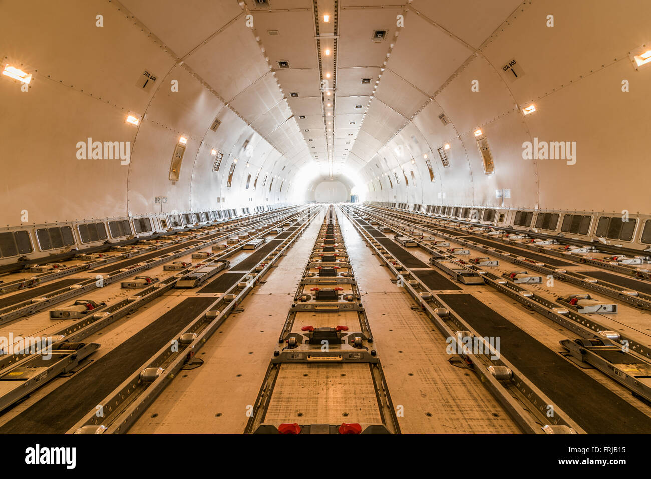 Interior of a Boeing 777 cargo aircraft - Stock Image