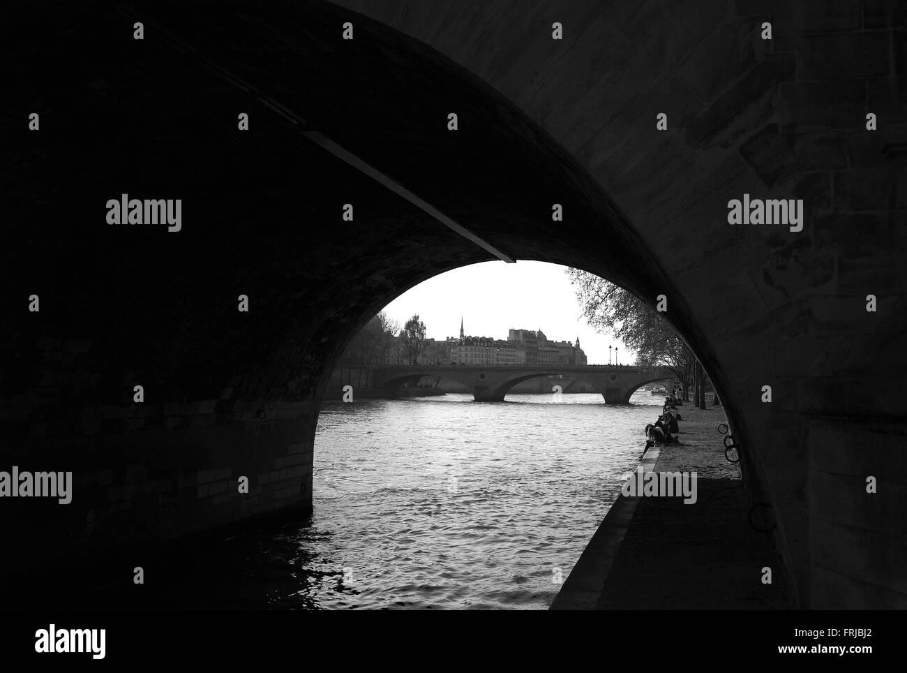 Quai des Celestins from Pont Marie - Stock Image