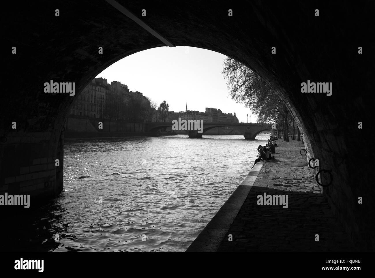 Quai des Celestins from Pont Marie, Paris - Stock Image