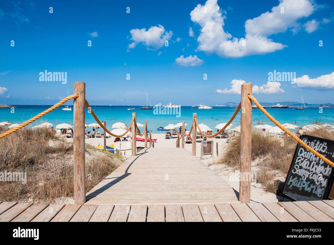 Formentera, Balearic Island, Spain. A picture postcard image of the Ses Illetes beach with its magical colors caribbean. - Stock Image