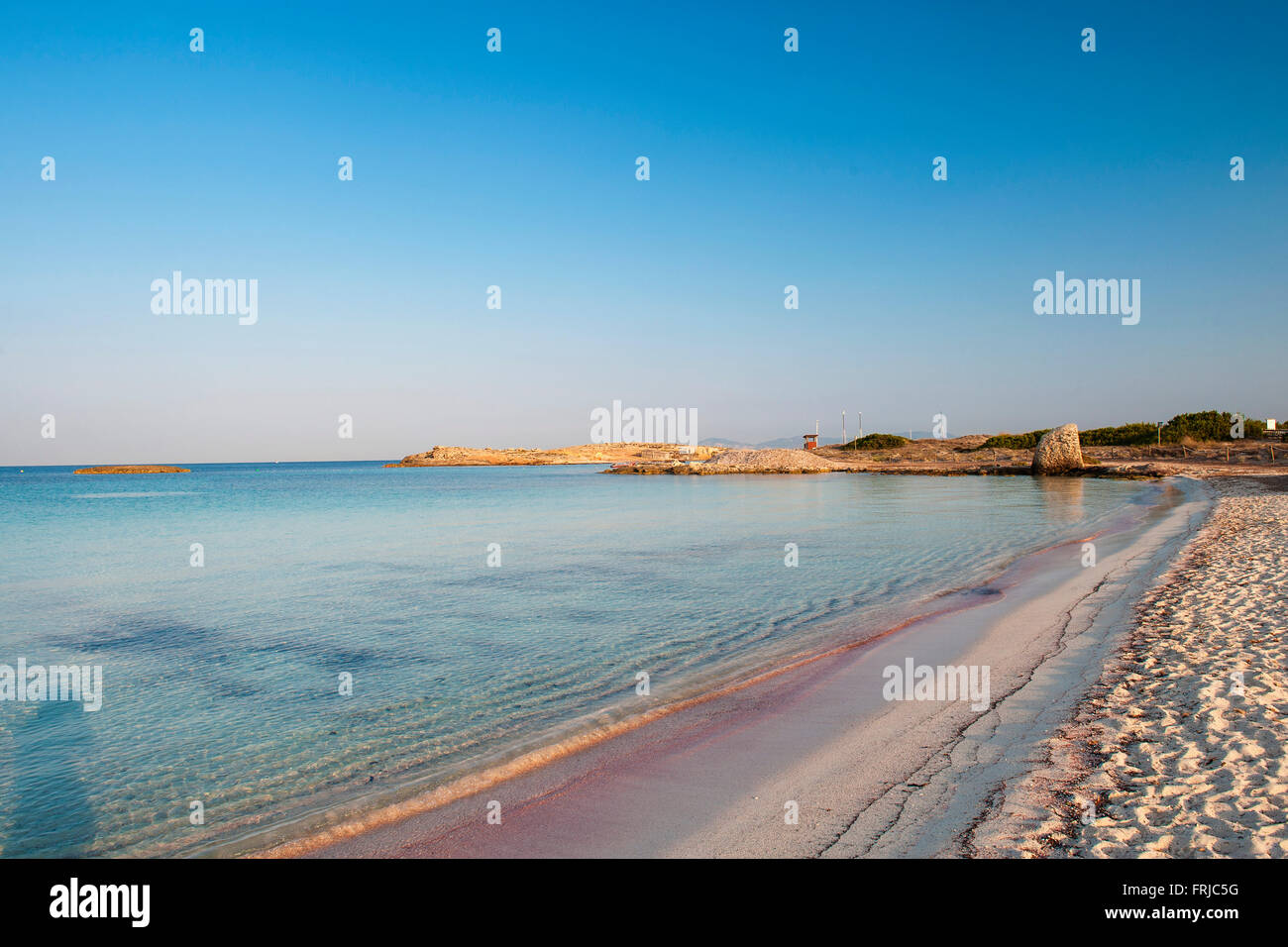 Formentera, Balearic Island, Spain. Beautiful picture postcard image of the Ses Illetes beach, voted the best beach - Stock Image