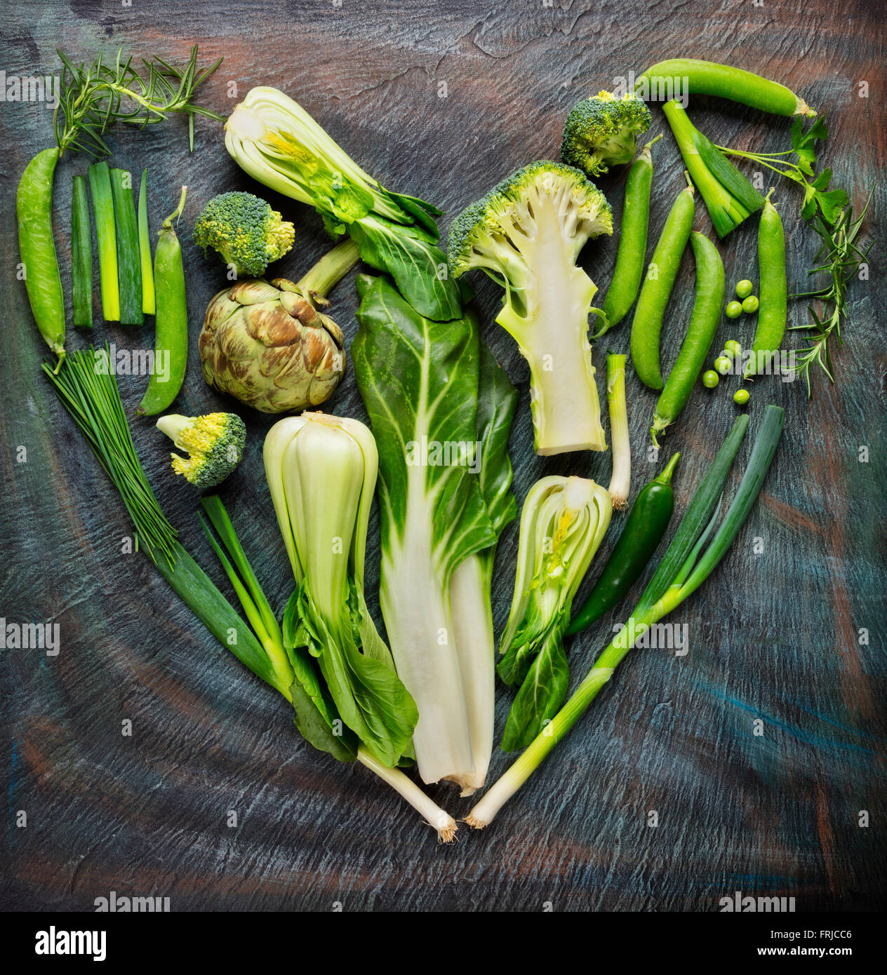 Collection of fresh vegetables in heart shape - Stock Image