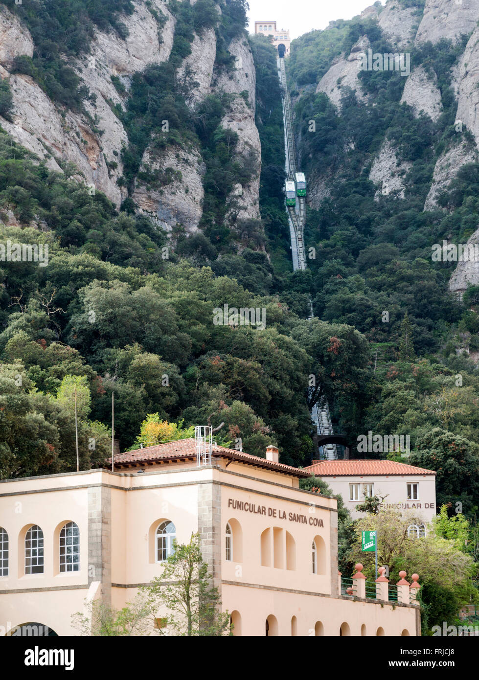 Benedictine abbey Santa Maria de Montserrat,  Virgin of Montserrat sanctuary near Barcelona. Spain - Stock Image