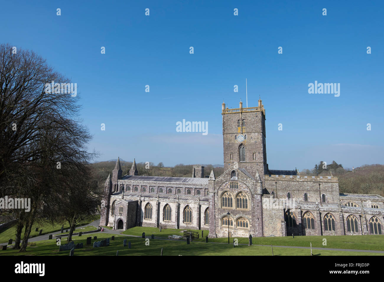 St. David's Cathedral in St. David's, Pembrokeshire, West Wales. Stock Photo