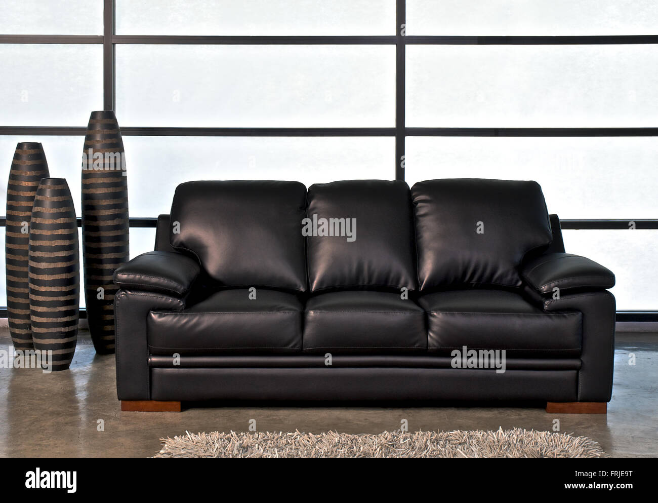 Black Leather Sofa For Home Or Office   Stock Image
