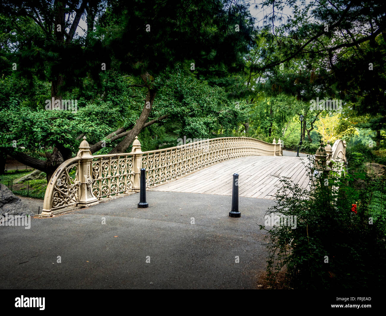 Pine Bank Arch cast-iron bridge, Central Park, West Side at 62nd Street. USA - Stock Image