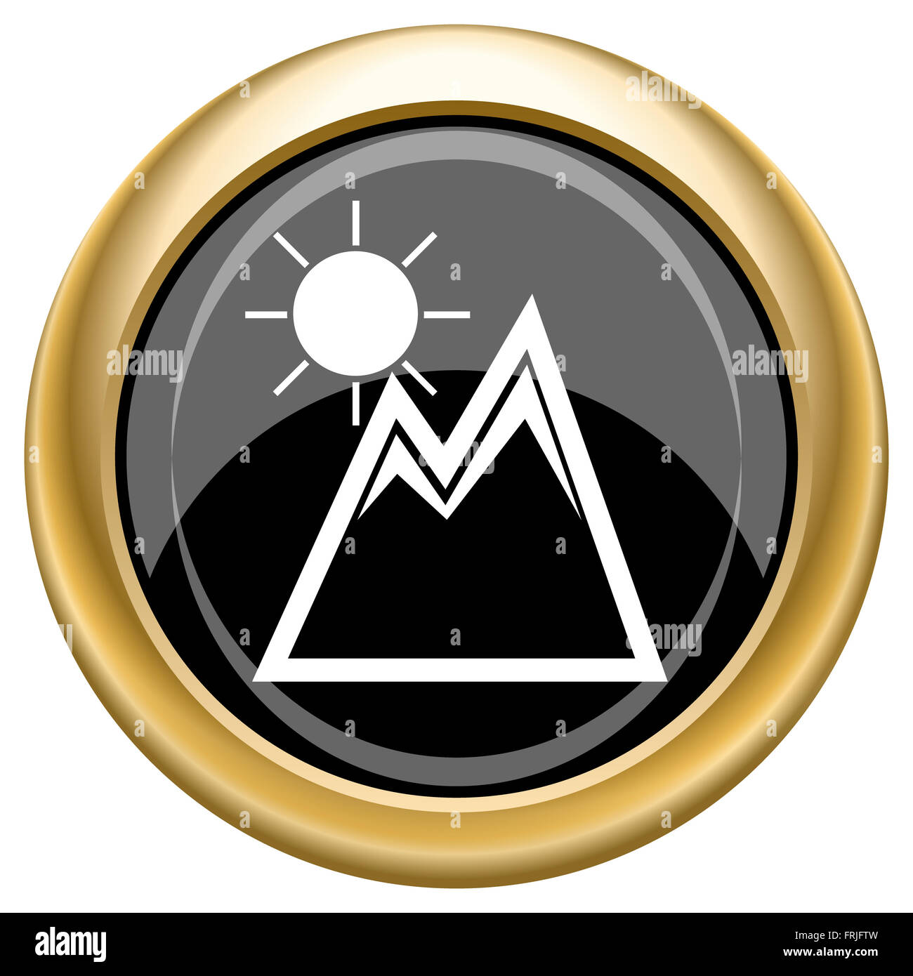 Shiny glossy icon with white design on black and gold background - Stock Image