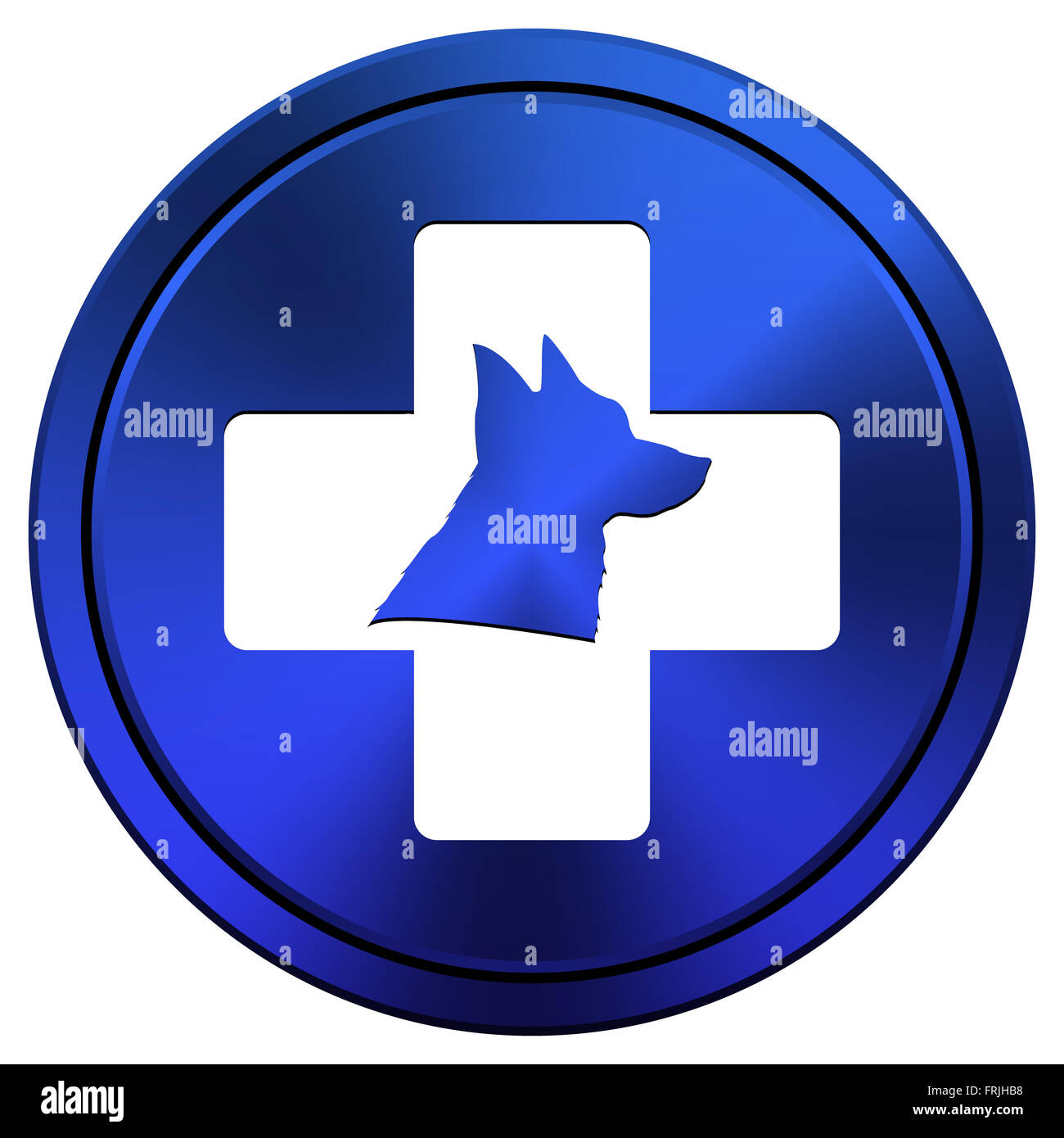 Metallic icon with white design on blue background - Stock Image