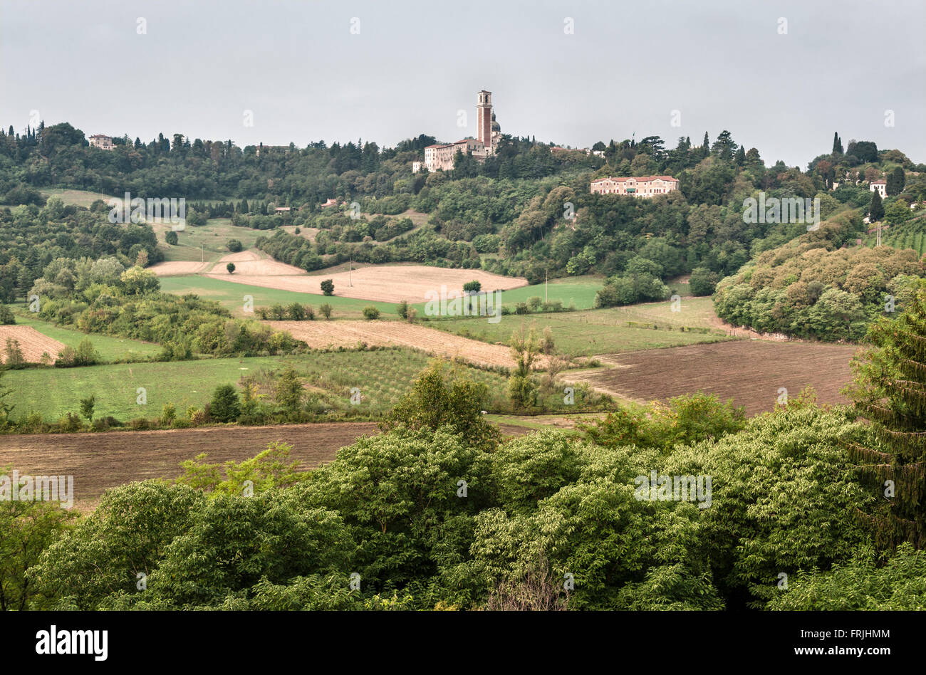 Near Vicenza, Italy. The Basilica of Monte Berico seen from the valley below - Stock Image