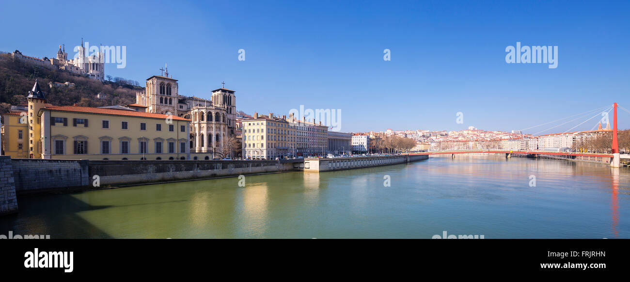 Panoramic view of Saone river in Lyon city, France - Stock Image