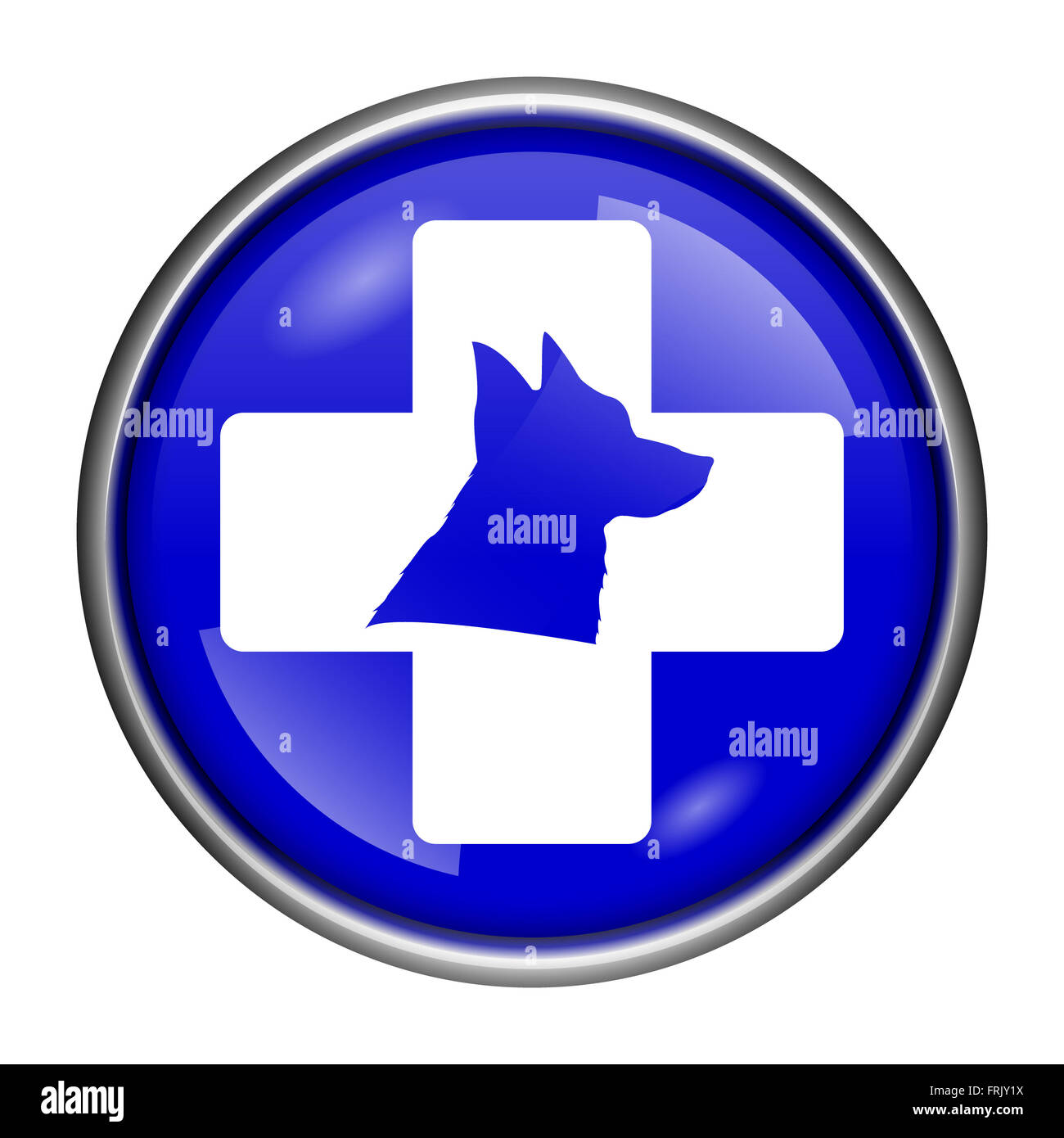 Round glossy icon with white design on blue background - Stock Image