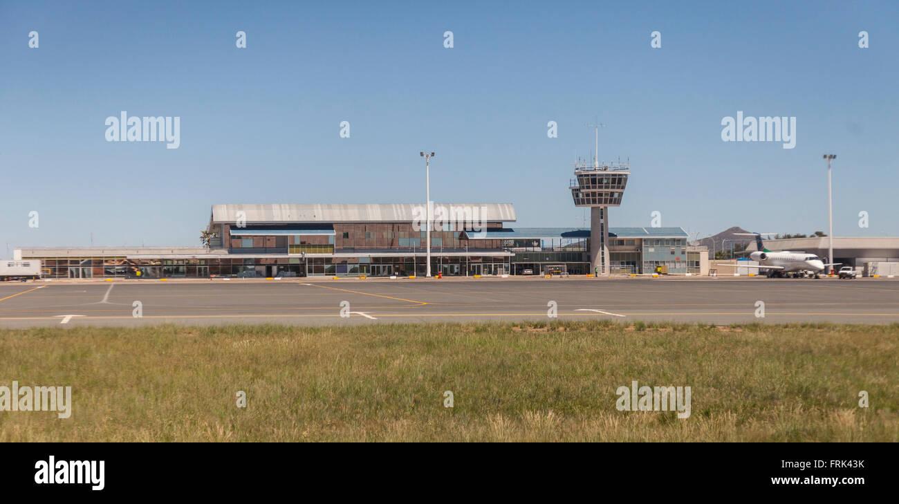 Airside view of the terminal and air traffic control tower at Hosea Kutako International Airport, Windhoek, Namibia, - Stock Image