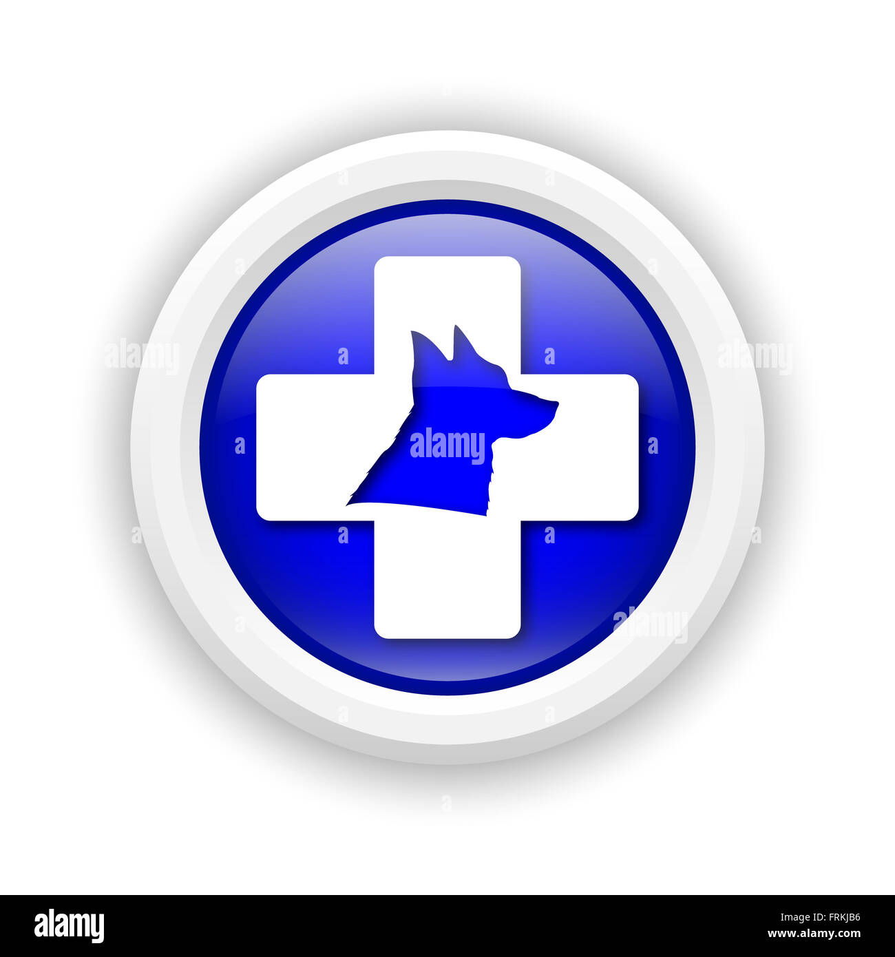 Round plastic icon with white design on blue background - Stock Image