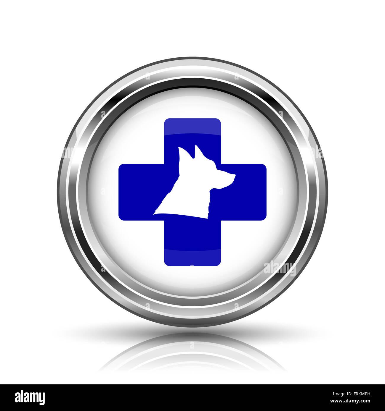 Shiny glossy icon - internet metallic button - Stock Image