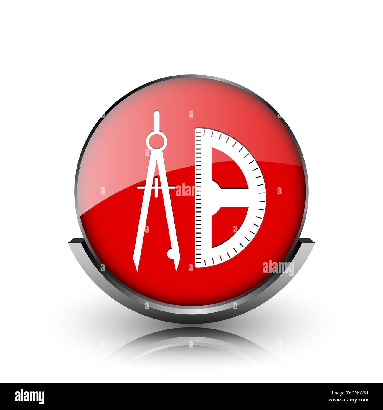 Red shiny glossy icon on white background Stock Photo