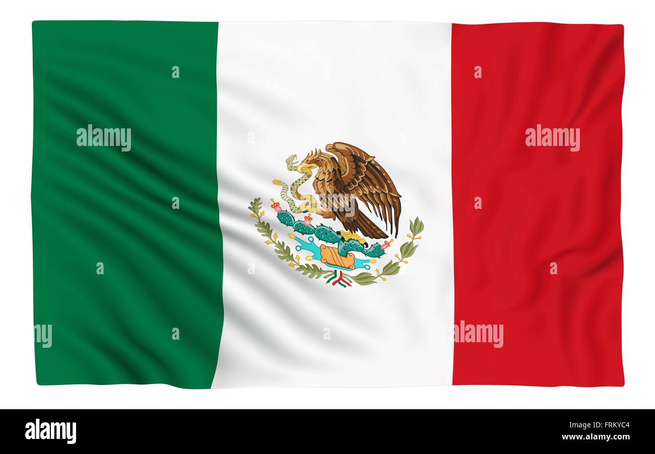 Flag of Mexico , isolated on white. - Stock Image