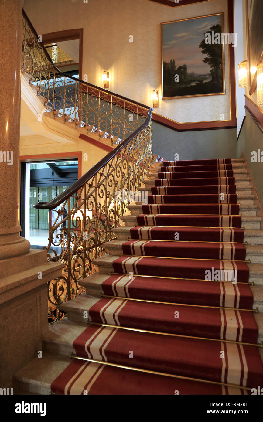 Lobby staircases of the Dolder Grand Hotel, Zurich, Switzerland - Stock Image