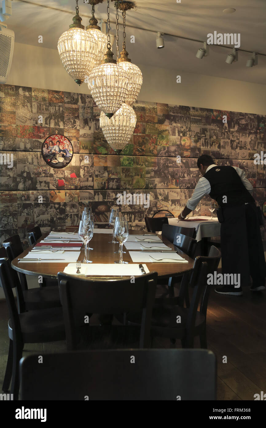 Dining hall of HILTL the world oldest continuously open vegetarian restaurant. Zurich Switzerland - Stock Image